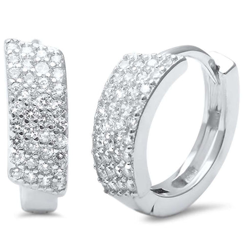 5mmx13mm Huggie Earrings Hoop 925 Sterling Silver Micro Pave Cubic Zirconia