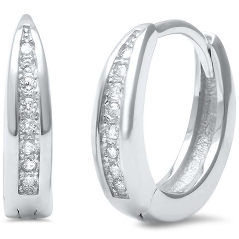 3mmx13mm Half Eternity Huggie Earrings Hoop Round Cubic Zirconia 925 Sterling Silver
