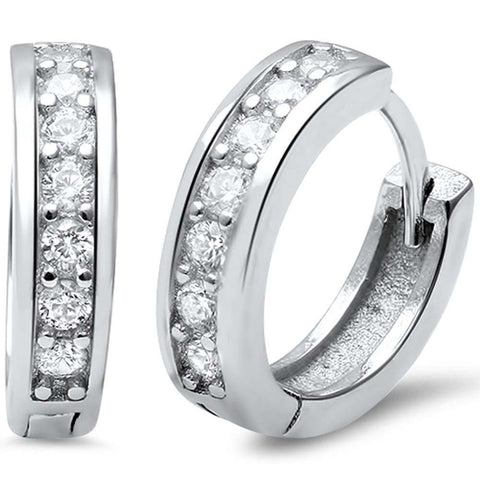 3mmx14mm Half Eternity Huggie Hoop Earrings Round Cubic Zirconia 925 Sterling Silver