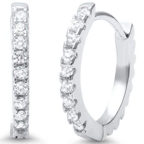 2mmx16mm Hoop Huggie Earrings Round Cubic Zirconia 925 Sterling Silver
