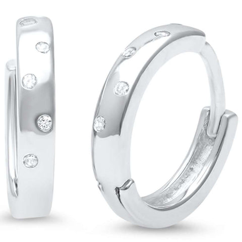 2mmx12mm Hoop Huggie Earrings Round Cubic Zirconia Accent 925 Sterling Silver