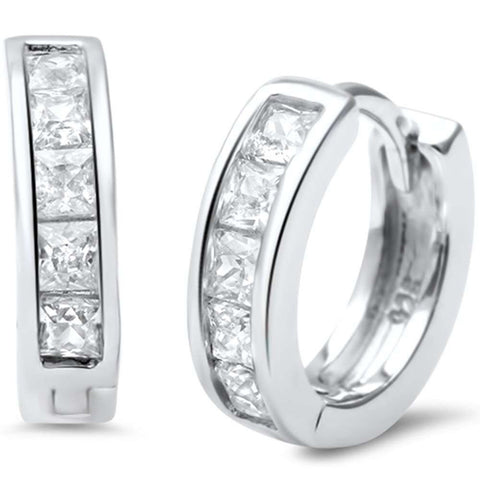 3mmx12mm Half Eternity Hoop Huggie Earrings Invisible Princess Cut Square CZ 925 Sterling Silver