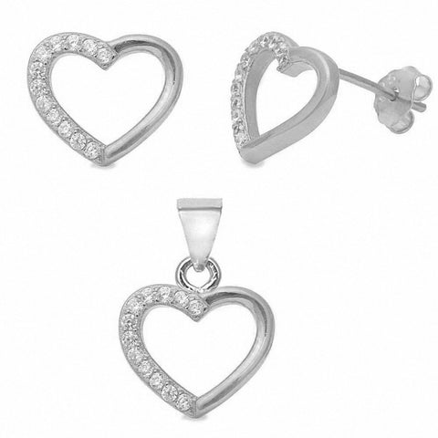 Fashion Heart Jewelry Set Round Cubic Zirconia 925 Sterling Silver Choose Color