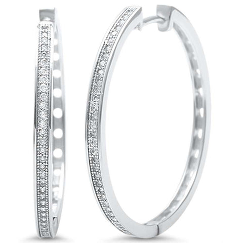 33mm Hoop Earrings Round Pave Cubic Zirconia 925 Sterling Silver