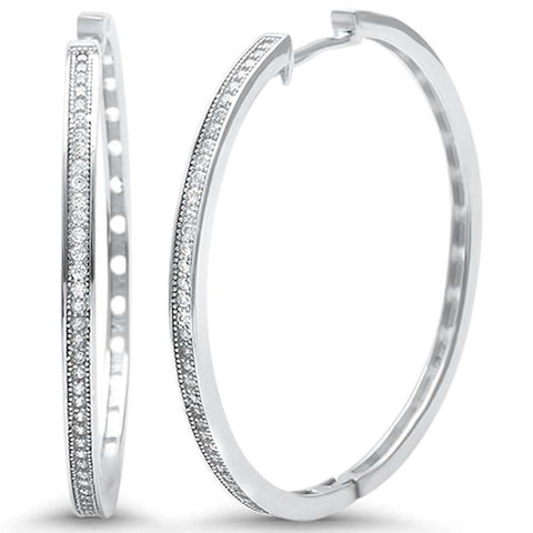 36mm Hoop Earrings Round Pave Cubic Zirconia 925 Sterling Silver