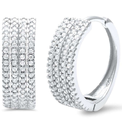 18mm 4 Row Half Eternity Hoop Earrings Round Pave Cubic Zirconia 925 Sterling Silver