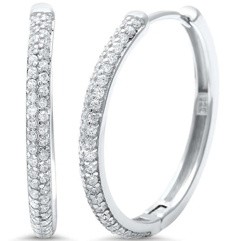 24mm Double Row Half Eternity Hoop Earrings Round Pave Cubic Zirconia 925 Sterling Silver