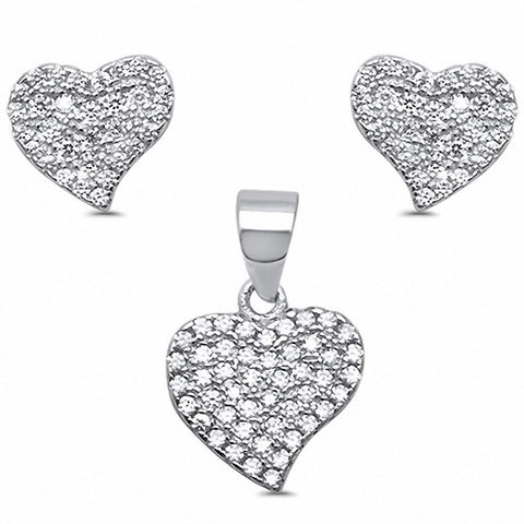Heart Jewelry Set Round Pave Cubic Zirconia 925 Sterling Silver Choose Color