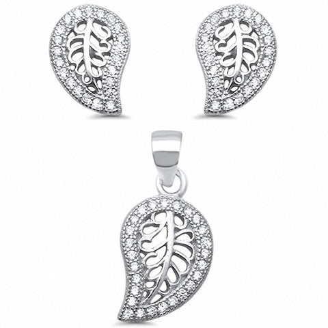 Filigree Leaf Jewelry Set Round Cubic Zirconia 925 Sterling Silver Choose Color