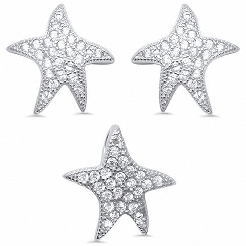 Starfish Jewelry Set Pendant Earring Round Cubic Zirconia 925 Sterling Silver Choose Color