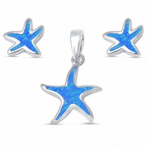 Starfish Jewelry Set Created Opal 925 Sterling Silver Choose Color Nautical Starfish