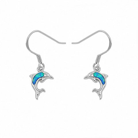 Dangling Dolphin Fish Hook Earrings 925 Sterling Silver Created Opal Choose Color