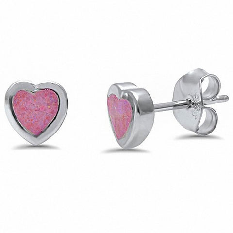 Heart Stud Earrings Created Opal 925 Sterling Silver Choose Color