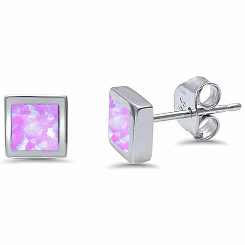 6mm Square Stud Earrings Princess Cut Created Opal 925 Sterling Silver Choose Color