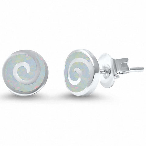 Round Spiral Swirl Stud Earrings Lab Created Opal 925 Sterling Silver Choose Color