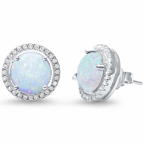 13mm Round Halo Stud Earrings Round Lab Created Blue Opal CZ 925 Sterling Silver Choose Color