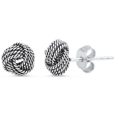 8mm Twisted Knot Stud Earrings 925 Sterling Silver Simple Plain Knot Braided Earring