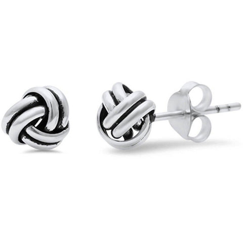 8mm Knot Stud Earrings 925 Sterling Silver Simple Plain Twisted Knot Braided Earring