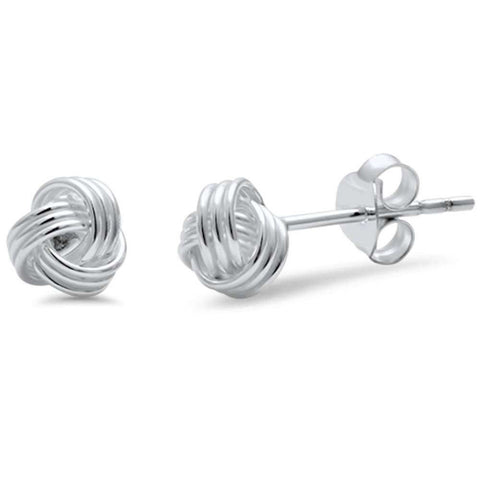 6mm, 8mm Knot Ball Stud Earring 925 Sterling Silver Braided Twisted Knot Earring Choose Size