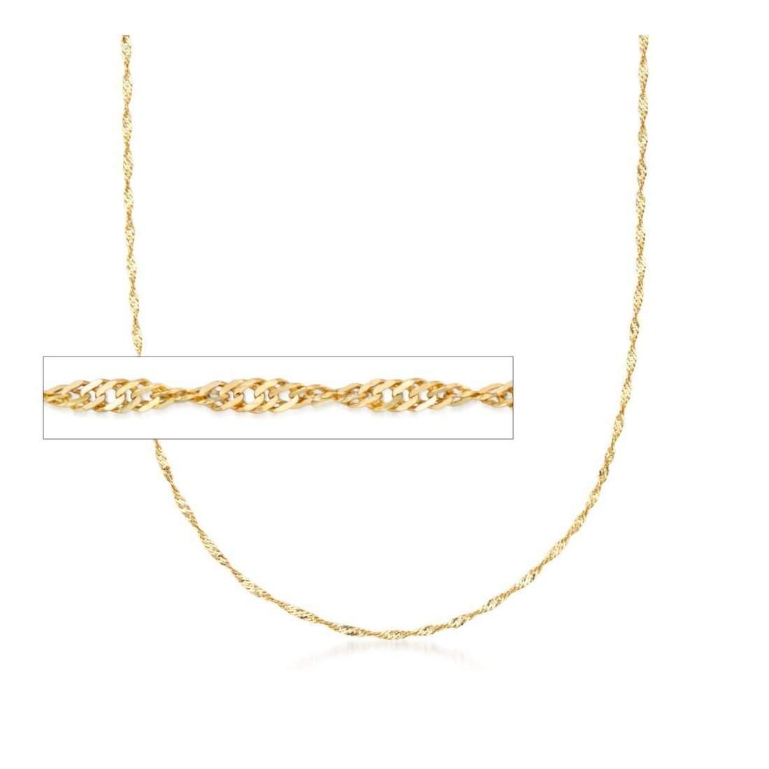 "1.6MM 025 Yellow Gold Singapore Chain .925 Sterling Silver Sizes ""7-20"""