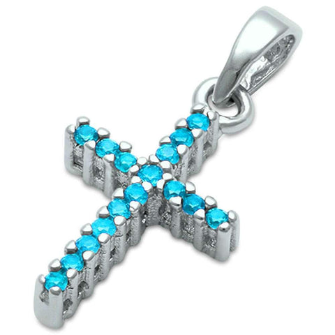 Blue Cz Cross .925 Sterling Silver Pendant