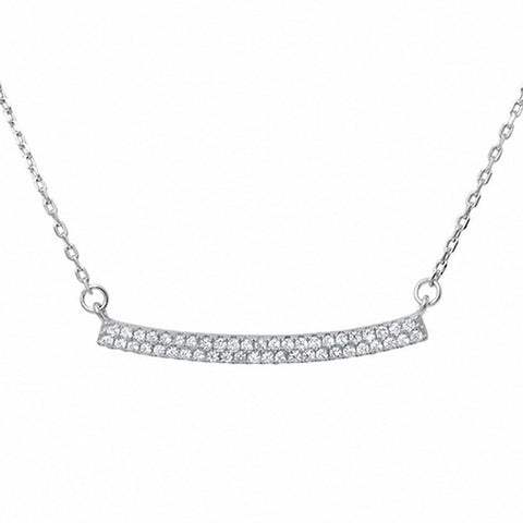 Curve Bar Necklace Pendant Round Simulated Cubic Zirconia 925 Sterling Silver