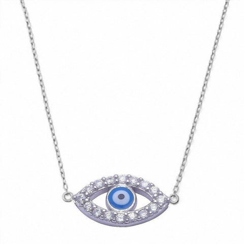 "Evil Eye Blue Pendant .925 Sterling Silver Pendant with 16"" Chain"