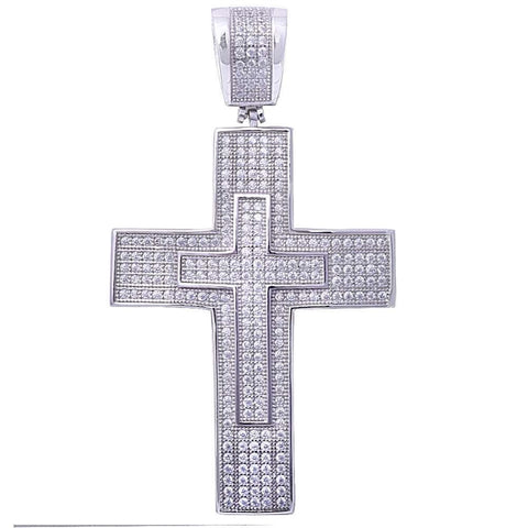 Hiphop Style Micro Pave Cubic Zirconia Double Cross .925 Sterling Silver Pendant