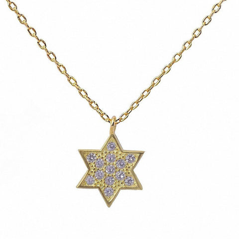Yellow Gold Plated Pave Cubic Zirconia Star of David .925 Sterling Silver Pendant Necklace 16""