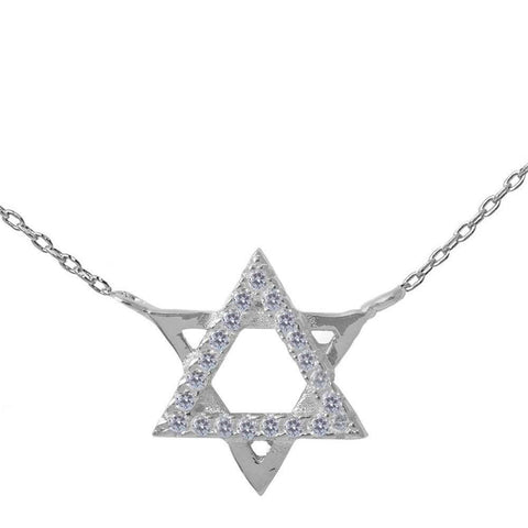 Cubic Zirconia Star of David .925 Sterling Silver Pendant Necklace 16""