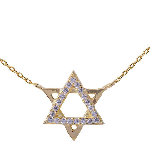 Yellow Gold Plated Cubic Zirconia Star of David .925 Sterling Silver Pendant Necklace 16""