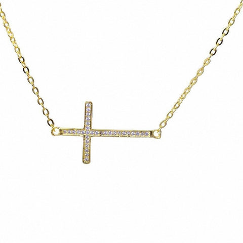 Yellow Gold Plated Sideways Cubic Zirconia Cross .925 Sterling Silver Pendant Necklace 16""