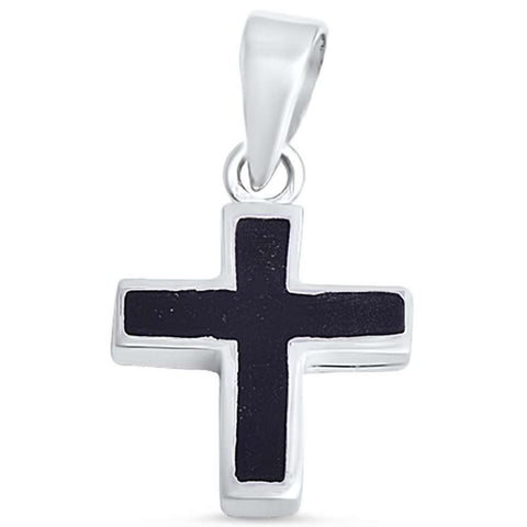 Black Onyx Cross .925 Sterling Silver Pendant