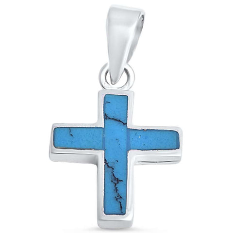 Blue Turquoise Cross .925 Sterling Silver Pendant