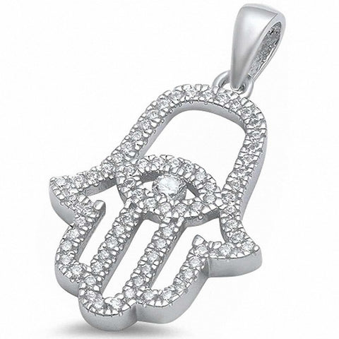Cz Evil Eye Hand of God .925 Sterling Silver Pendant