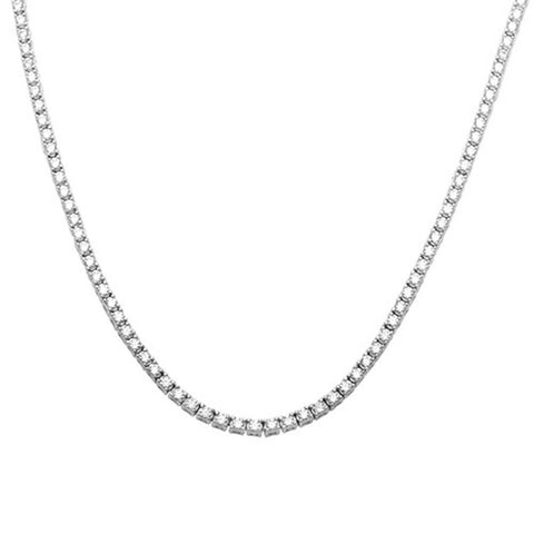 "Tennis Necklace 2.5mm Round Cubic Zirconia 18"" Necklace 925 Sterling Silver Choose Color"