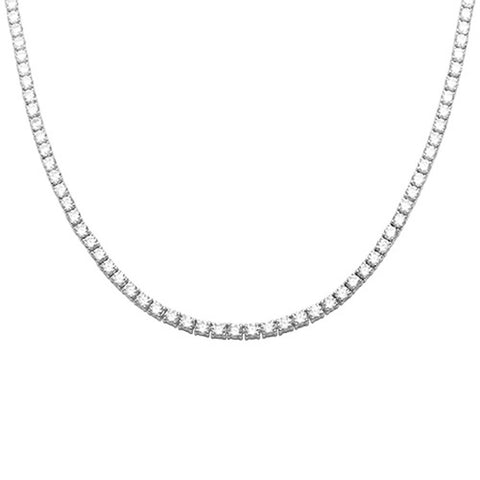 "Tennis Necklace 3mm Round Cubic Zirconia 18"" Necklace 925 Sterling Silver Choose Color"