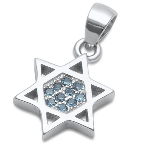 Micro Pave Aquamarine Star of David .925 Sterling Silver Pendant