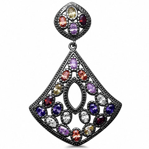 Fancy Black Tone Multicolored & CZ Pendant 925 Sterling Silver Choose Color
