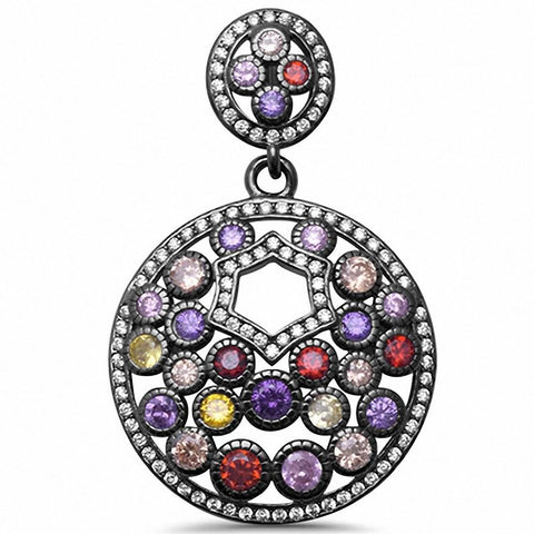 925 Sterling Silver Multicolored & CZ Pendant Choose Color