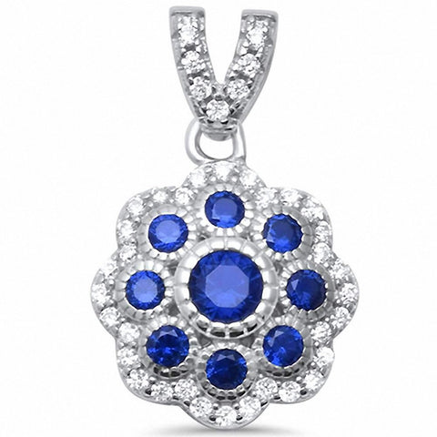 Filigree Pendant Round Simulated Sapphire 925 Sterling Silver Choose Color