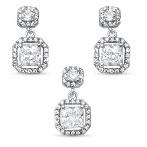Halo Dangling Jewelry Set Princess Cut Round CZ 925 Sterling Silver Wedding Bridal Choose Color