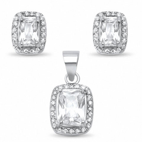 Halo Jewelry Set Radiant Round Cubic Zirconia 925 Sterling Silver Bridal Wedding Choose Color