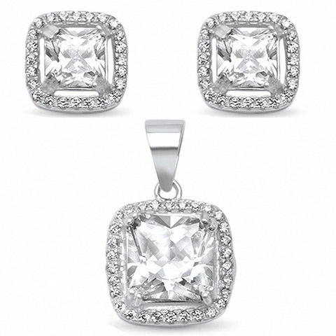 Halo Jewelry Set Princess Cut Round Cubic Zirconia 925 Sterling Silver Bridal Choose Color