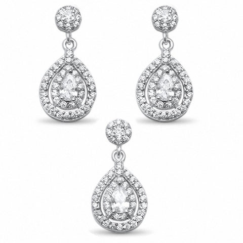 Halo Dangling Jewelry Set Pear Round Cubic Zirconia 925 Sterling Silver Choose Color