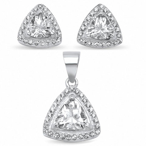 Halo Jewelry Set Trillion Round Cubic Zirconia 925 Sterling Silver Choose Color
