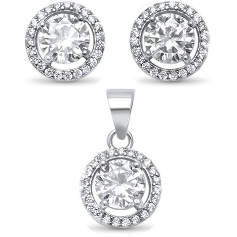 Halo Jewelry Set Pendant Earring Round Cubic Zirconia 925 Sterling Silver Choose Color