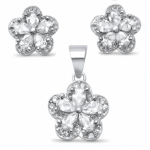 Halo Flower Jewelry Set Pear Round Cubic Zirconia 925 Sterling Silver Choose Color