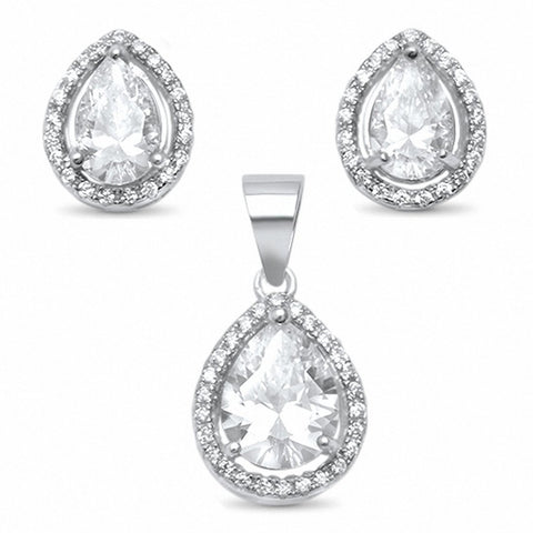Halo Teardrop Pear Jewelry Set Pear Round Cubic Zirconia 925 Sterling Silver Bridal
