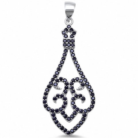 Filigree Pendant Round Pave Cubic Zirconia 925 Sterling Silver Choose Color